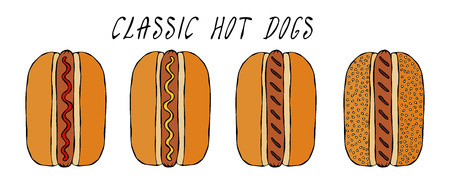 Set of Classic Hot Dogs. For Fast Food Menu. Hand Drawn High Quality Clean Vector Realistic Illustration. Doodle Style.