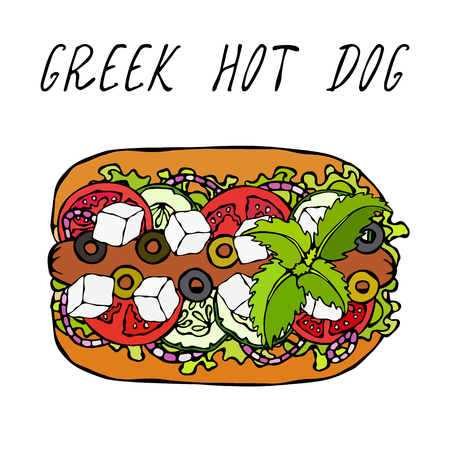Greek Hot Dog. Feta Cheese, Basil. Olives, Lettuce Salad, Tomato, Cucumber. Fast Food Collection. Hand Drawn High Quality Vector Illustration. Doodle Style Vectores