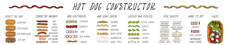 Hot Dog Ingredients Constructor. Sausage, Bun, Vegetables, Cheese, Salad Leaves, Sauce, Pepper. Fast Food Collection. Realistic Hand Drawn High Quality Vector Illustration. Doodle Style.