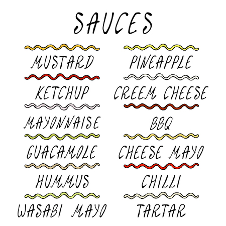 Set Strips of Different Sauces. Fast Food Collection. Realistic Hand Drawn High Quality Vector Illustration. Doodle Style