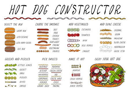 Hot Dog Ingredients Constructor. Sausage, Bun, Vegetables, Cheese, Salad Leaves, Sauce, Pepper. Fast Food Collection. Realistic Hand Drawn High Quality Vector Illustration. Doodle Style Foto de archivo - 115030383