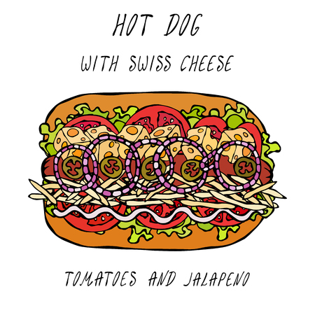 Hot Dog with Swiss Cheese, Hard Cheese, Lettuce Salad, Tomato, Red Onion Rings, Jalapeno, Mayo. Fast Food Collection. Realistic Hand Drawn High Quality Vector Illustration. Doodle Style Vectores
