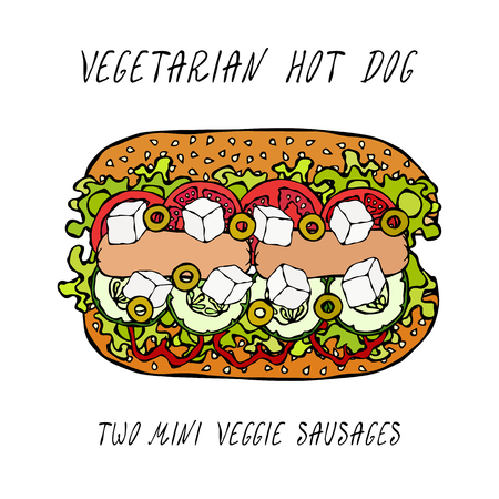 Vegetarian Hot Dog, Veggie Sausages, Greek Feta, Cucumber, Belle Pepper, Tomato, Olive, Lettuce Salad, Sesame Seeds. Fast Food. Realistic Hand Drawn High Quality Vector Illustration. Doodle Style Vectores
