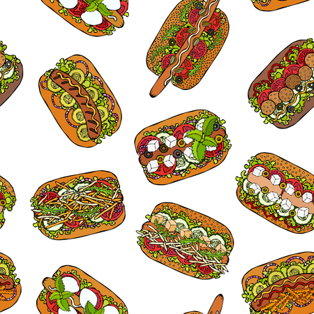 Hot Dog Seamless Endless Pattern. Many Ingredients. Restaurant or Cafe Menu Background. Fast Food Collection. Realistic Hand Drawn High Quality Vector Illustration. Doodle Style