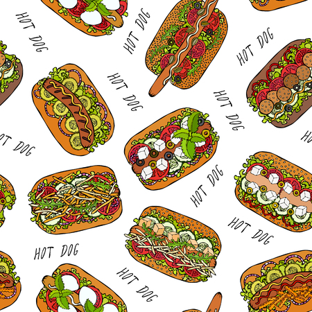 Hot Dog and Lettering Seamless Endless Pattern. Many Ingredients. Restaurant or Cafe Menu Background. Street Fast Food Collection. Realistic Hand Drawn High Quality Vector Illustration. Doodle Style Foto de archivo - 114966636