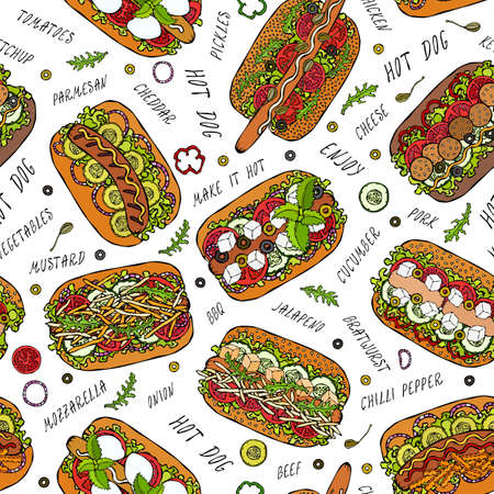 Hot Dog and Lettering Seamless Endless Pattern. Many Ingredients. Restaurant or Cafe Menu Background. Street Fast Food Collection. Realistic Hand Drawn High Quality Vector Illustration. Doodle Style