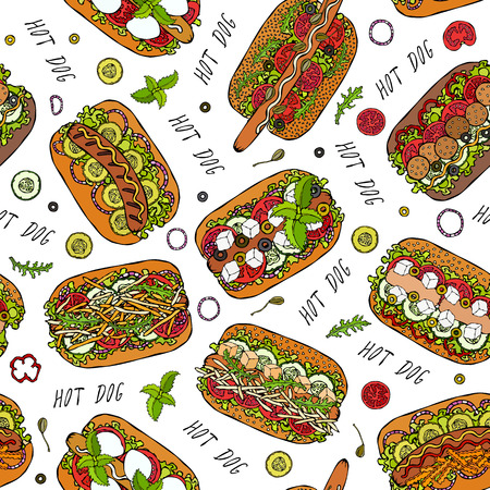 Hot Dog and Lettering Seamless Endless Pattern. Many Ingredients. Restaurant or Cafe Menu Background. Street Fast Food Collection. Realistic Hand Drawn High Quality Vector Illustration. Doodle Style Banco de Imagens - 114966641