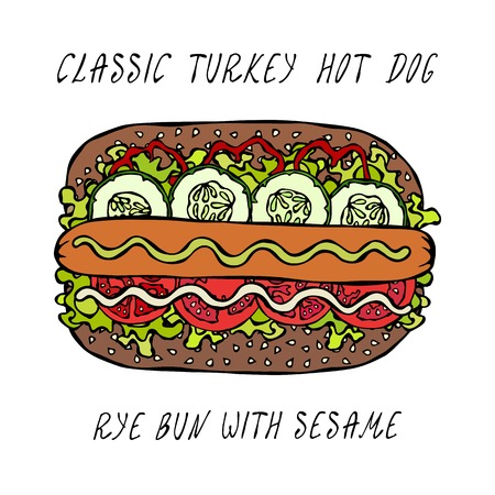 Classic Turkey Hot Dog on a Sesame Bun with Lettuce Salad, Tomato, Cucumber, Mustard, Ketchup. Street Fast Food Collection. Realistic Hand Drawn High Quality Vector Illustration. Doodle Style