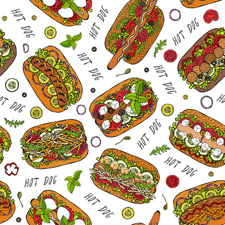 Hot Dog and Lettering Seamless Endless Pattern. Many Ingredients. Restaurant or Cafe Menu Background. Street Fast Food Collection. Realistic Hand Drawn High Quality Vector Illustration. Doodle Style Foto de archivo - 114966646