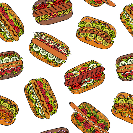 Hot Dog Seamless Endless Pattern. Many Ingredients. Restaurant or Cafe Menu Background. Street Fast Food Collection. Realistic Hand Drawn High Quality Vector Illustration. Doodle Style Foto de archivo - 114956488