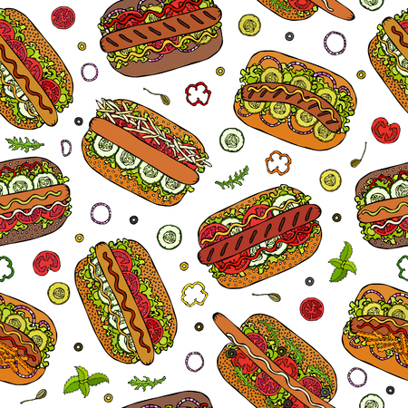 Hot Dog Seamless Endless Pattern. Many Ingredients. Restaurant or Cafe Menu Background. Street Fast Food Collection. Realistic Hand Drawn High Quality Vector Illustration. Doodle Style.  イラスト・ベクター素材