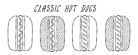 Set of Classic Hot Dogs. For Fast Food Menu. Hand Drawn High Quality Clean Vector Realistic Illustration. Doodle Style Foto de archivo - 114956489