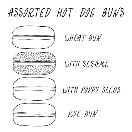 Set of Assorted Hot Dog Buns. Wheat Bun with Sesame, Poppy Seeds, Rye Bun. For Fast Food, Restaurant or Bar Menu. Hand Drawn High Quality Clean Vector Realistic Illustration. Doodle Style Foto de archivo - 114956490