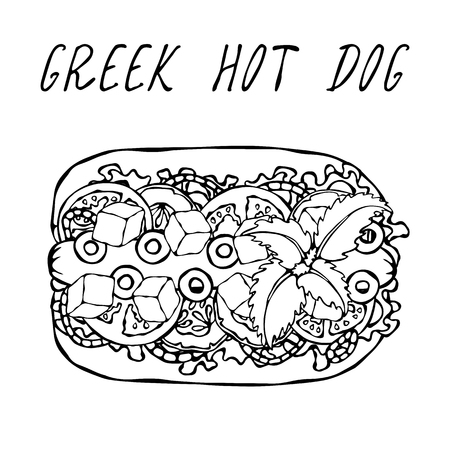 Greek Hot Dog. Feta Cheese, Basil. Olives, Lettuce Salad, Tomato, Cucumber. Fast Food Collection. Hand Drawn High Quality Vector Illustration. Doodle Style Foto de archivo - 114956491