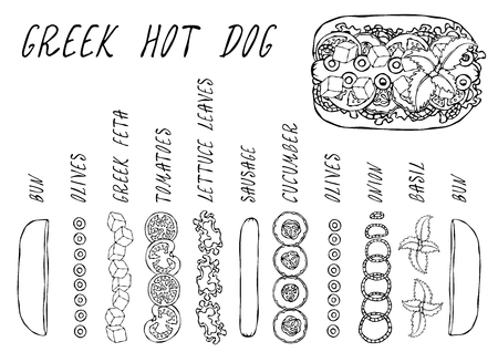 Greek Hot Dog Ingredients Constructor. Feta Cheese, Basil. Olives, Lettuce Salad, Tomato, Cucumber. Fast Food Collection. Hand Drawn High Quality Vector Illustration. Doodle Style Foto de archivo - 114956492