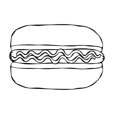 Hotdog. Bun, Sausage, Ketchup, Mustard. Fast Food Collection. Hand Drawn High Quality Traced Vector Illustration. Doodle Style Foto de archivo - 114947369