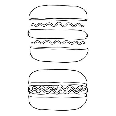 Hotdog. Bun, Sausage, Ketchup, Mustard. Fast Food Collection. Hand Drawn High Quality Traced Vector Illustration. Doodle Style Ilustração