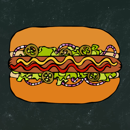 Hotdog. Bun, Sausage, Ketchup, Mustard. Fast Food Collection. Hand Drawn High Quality Traced Vector Illustration. Black Chalkboard. Doodle Style