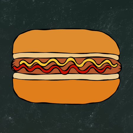Hotdog. Bun, Sausage, Ketchup, Mustard. Fast Food Collection. Hand Drawn High Quality Traced Vector Illustration. Black Chalkboard. Doodle Style Foto de archivo - 114947370