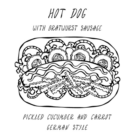 German Style Hot Dog Bratwurst Sausage, Lettuce Salad, Pickled Cucumber and Carrot, Mustard, Ketchup. Fast Food Collection. Realistic Hand Drawn High Quality Vector Illustration. Doodle Style Foto de archivo - 114947375