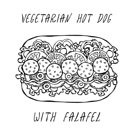 Vegetarian Hot Dog with Falafel. Belle Pepper, Tomato, Olives, Mustard, Lettuce Salad, Rye Bun. Fast Food Collection. Realistic Hand Drawn High Quality Vector Illustration. Doodle Style Foto de archivo - 114947377