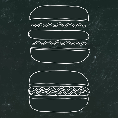 Hotdog. Bun, Sausage, Ketchup, Mustard. Fast Food Collection. Hand Drawn High Quality Traced Vector Illustration. Black Chalkboard and White Chalk. Doodle Style Foto de archivo - 114902089