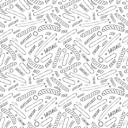 Seamless Endless Background Pattern of Different Sausages, Onion Rings, Rocket Leaves Herb, Pepper and Lettering. Food Collection. Realistic Hand Drawn High Quality Vector Illustration. Doodle Style Foto de archivo - 114947382