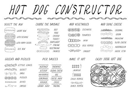 Hot Dog Ingredients Constructor. Sausage, Bun, Vegetables, Cheese, Salad Leaves, Sauce, Pepper. Fast Food Collection. Realistic Hand Drawn High Quality Vector Illustration. Doodle Style