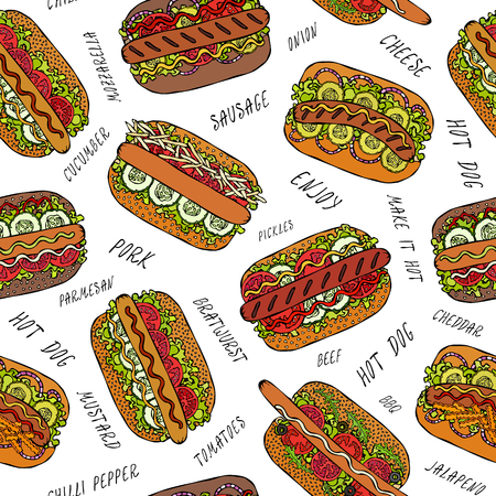 Hot Dog and Lettering Seamless Endless Pattern. Many Ingredients. Restaurant or Cafe Menu Background. Street Fast Food Collection. Realistic Hand Drawn High Quality Vector Illustration. Doodle Style Foto de archivo - 114947384