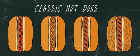 Set of Classic Hot Dogs. For Fast Food Menu. Hand Drawn High Quality Clean Vector Realistic Illustration. Black Chalkboard. Doodle Style Foto de archivo - 114902090