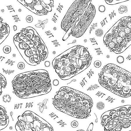 Hot Dog and Lettering Seamless Endless Pattern. Many Ingredients. Restaurant or Cafe Menu Background. Street Fast Food Collection. Realistic Hand Drawn High Quality Vector Illustration. Doodle Style.
