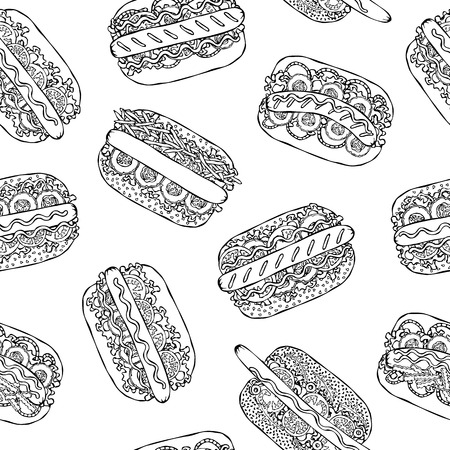 Hot Dog Seamless Endless Pattern. Many Ingredients. Restaurant or Cafe Menu Background. Street Fast Food Collection. Realistic Hand Drawn High Quality Vector Illustration. Doodle Style Foto de archivo - 114947388