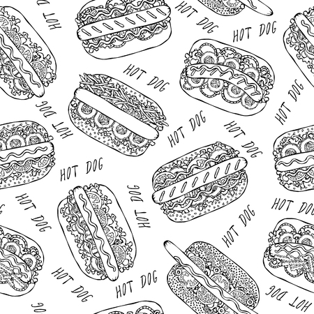 Hot Dog and Lettering Seamless Endless Pattern. Many Ingredients. Restaurant or Cafe Menu Background. Street Fast Food Collection. Realistic Hand Drawn High Quality Vector Illustration. Doodle Style Foto de archivo - 114947390