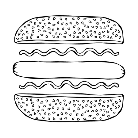 Hotdog. Bun with Sesame, Sausage, Ketchup, Mustard. Fast Food Collection. Hand Drawn High Quality Vector Illustration. Doodle Style Foto de archivo - 114947391