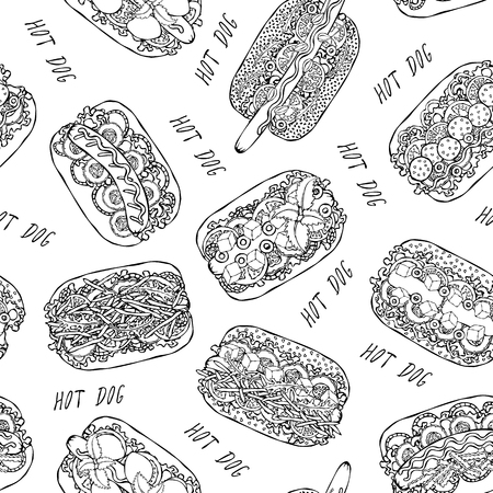 Hot Dog and Lettering Seamless Endless Pattern. Many Ingredients. Restaurant or Cafe Menu Background. Street Fast Food Collection. Realistic Hand Drawn High Quality Vector Illustration. Doodle Style Foto de archivo - 114947396
