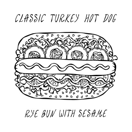 Classic Turkey Hot Dog on a Sesame Bun with Lettuce Salad, Tomato, Cucumber, Mustard, Ketchup. Street Fast Food Collection. Realistic Hand Drawn High Quality Vector Illustration. Doodle Style Foto de archivo - 114947398