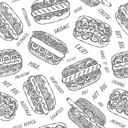Hot Dog and Lettering Seamless Endless Pattern. Many Ingredients. Restaurant or Cafe Menu Background. Street Fast Food Collection. Realistic Hand Drawn High Quality Vector Illustration. Doodle Style Foto de archivo - 114947399