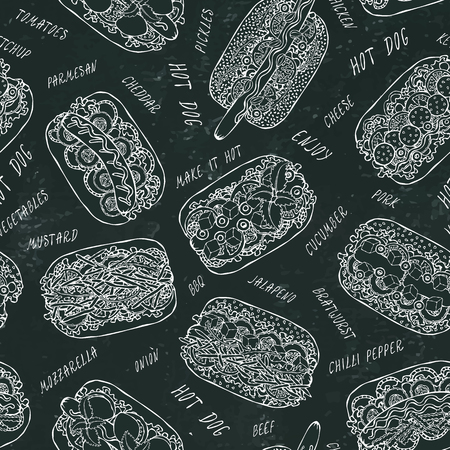 Hot Dog and Lettering Seamless Endless Pattern. Many Ingredients. Menu Background. Street Fast Food Collection. Realistic Hand Drawn High Quality Vector Illustration. Doodle Style. Black Chalkboard Foto de archivo - 114863322