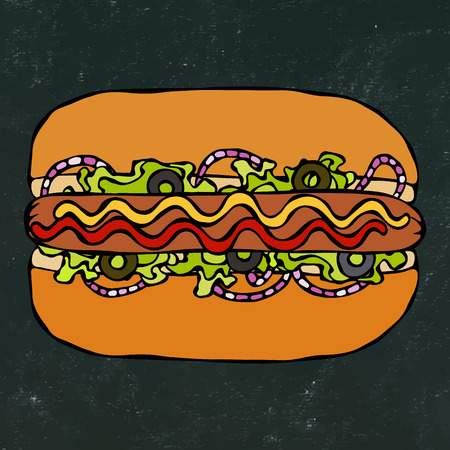 Hotdog. Bun, Sausage, Ketchup, Mustard. Fast Food Collection. Hand Drawn High Quality Traced Vector Illustration. Black Chalkboard. Doodle Style Foto de archivo - 114902091