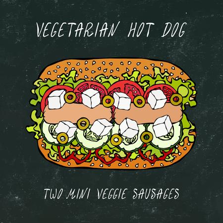 Vegetarian Hot Dog, Veggie Sausages, Greek Feta, Cucumber, Belle Pepper, Tomato, Olive, Sesame Seeds. Fast Food. Realistic Hand Drawn High Quality Vector Illustration. Doodle Style. Black Chalkboard Banco de Imagens - 114902092