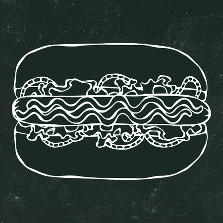 Hotdog. Bun, Sausage, Ketchup, Mustard. Fast Food Collection. Hand Drawn High Quality Traced Vector Illustration. Black Chalkboard and White Chalk. Doodle Style Foto de archivo - 114923941