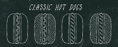 Set of Classic Hot Dogs. For Fast Food Menu. Hand Drawn High Quality Clean Vector Realistic Illustration. Black Chalkboard. Doodle Style Foto de archivo - 114923942