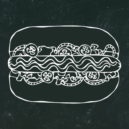 Hotdog. Bun, Sausage, Ketchup, Mustard. Fast Food Collection. Hand Drawn High Quality Traced Vector Illustration. Black Chalkboard and White Chalk. Doodle Style Foto de archivo - 114923943