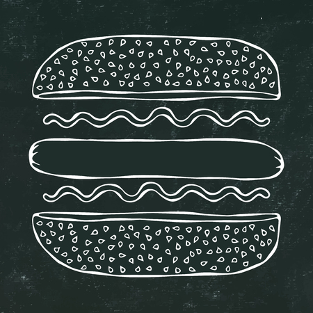 Hotdog. Bun with Sesame, Sausage, Ketchup, Mustard. Fast Food Collection. Black Chalkboard. Hand Drawn High Quality Vector Illustration. Doodle Style Foto de archivo - 114923944