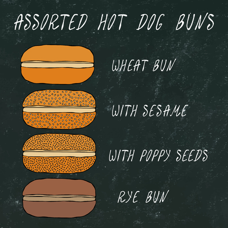 Set of Assorted Hot Dog Buns. Wheat Bun with Sesame, Poppy Seeds, Rye Bun. For Fast Food, Bar Menu. Hand Drawn High Quality Clean Vector Realistic Illustration. Black Chalkboard. Doodle Style
