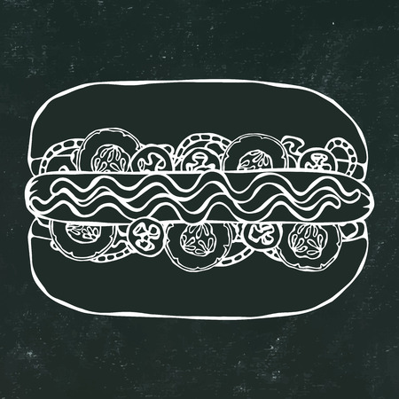 Hotdog. Bun, Sausage, Ketchup, Mustard. Fast Food Collection. Hand Drawn High Quality Traced Vector Illustration. Black Chalkboard and White Chalk. Doodle Style Foto de archivo - 114923947