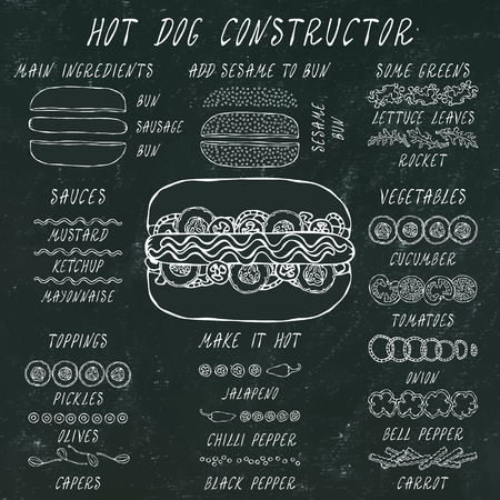 Hot Dog Constructor. Set of Fast Food Menu Ingredients. Hand Drawn High Quality Clean Realistic Vector Illustration. Black Chalkboard. Doodle Style Foto de archivo - 114923950
