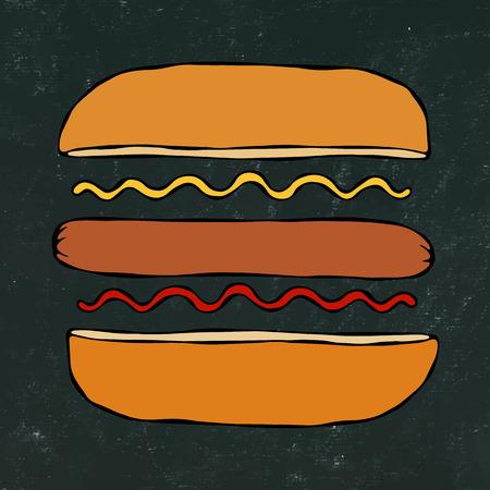Hotdog. Bun, Sausage, Ketchup, Mustard. Fast Food Collection. Hand Drawn High Quality Traced Vector Illustration. Black Chalkboard . Doodle Style Foto de archivo - 114902096