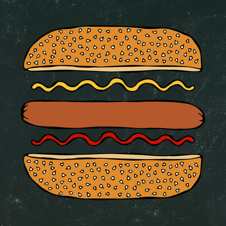 Hotdog. Bun with Sesame, Sausage, Ketchup, Mustard. Fast Food Collection. Black Chalkboard. Hand Drawn High Quality Vector Illustration. Doodle Style Foto de archivo - 114923952