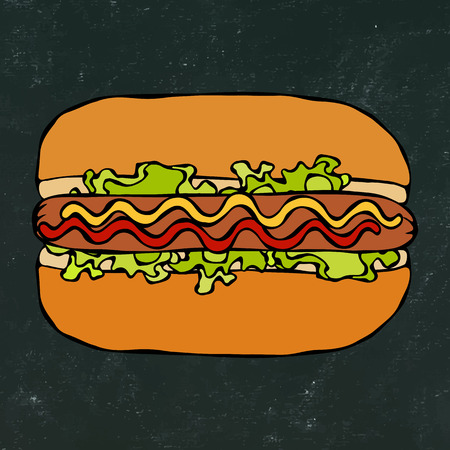 Hotdog. Bun, Sausage, Ketchup, Mustard. Fast Food Collection. Hand Drawn High Quality Traced Vector Illustration. Black Chalkboard. Doodle Style Foto de archivo - 114902099